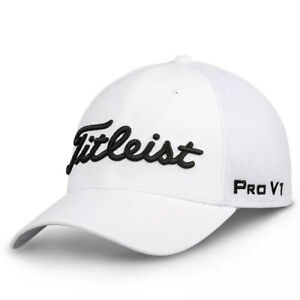 NEW Titleist Golf Tour Mesh Staff Fitted Cap - White - Choose Size