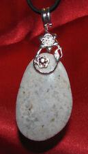 Ocean jasper stone pendant leather necklace healing jewelry etheric soul friend