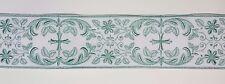 Vintage Religious Cross Design Green on White Banding Rayon&Cotton 3-1/4''  C102