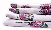 Handmade Cotton Indian Natural Hand Block Print Sanganeri Fabric 2.5 Yard Fabric