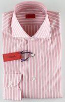 NWT ISAIA DRESS SHIRT striped white pink luxury handmade Italy 42 16 1/2