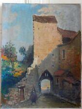 CARLOTI (XXème) huile sur toile vue de vieux village animée 46 x 61 cm