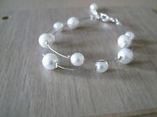 Bracelet Blanc pr robe de Mariée/Mariage/Soirée/Cérémonie perles pas cher