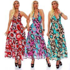 10532 Langes Baumwollkleid mit tiefen Ausschnitt Sommer Kleid Boho Neckholder