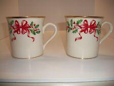 "Lenox Red Ribbon & Bow Holiday Design Pair Of Mugs 3 1/2""H X 4 1/2""W"