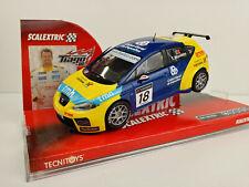 "Slot car SCX Scalextric 6274 Seat Leon WTCC #18 ""Caixa Geral"" T. Monteiro"