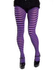 Opaque Purple & Black Fairy  Striped Tights