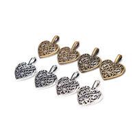 50x Tibetan Silver Bronze Filigree Heart Charms Pendants DIY Jewelry Making YJ
