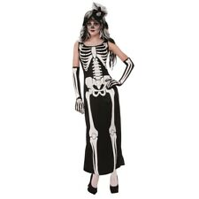 Ladies Skeleton Long Robe Dress Costume - Fancy Halloween Outfit Womens Uk