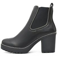 Damen Chelsea Plateau Boots Schuhe Stiefeletten Profil Sohle mit Reißverschluss