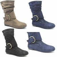 WOMEN'S LADIES FAUX SUEDE FASHION PIXIE ANKLE BOOTS FLATS SHOES UK SIZE 9 FM-2