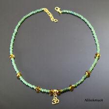 Damen grün/Bernstein Farben Kristall  Halsette mit Gold Ohm Anhänger  Karabiner