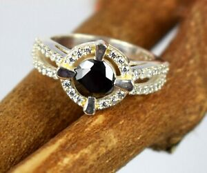 4.24 Ct. Very Elegant Black Diamond Solitaire With Accents Ring in 925 Silver