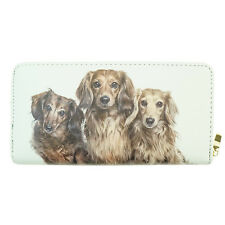 Dog Wallet - Long Haired Dachshund Design  White Wallet Approx 19cm x 10cm