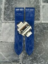 23mm D Blue Leather Strap Band Buckle Set Large for fits CARTIER Santos 100 XL