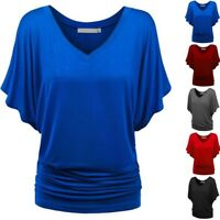 Women Solid Casual Loose T-Shirt Deep V Neck Batwing Short Sleeve Tops Blouses