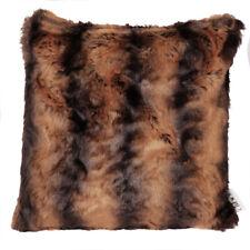 Luxury Fake/Faux Fur Sofa Cushion Rich Brown Black Striped