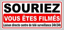 AUTOCOLLANT VIDEO SURVEILLANCE SOURIEZ VOUS ETES FILMES 20X9cm STICKER SA134