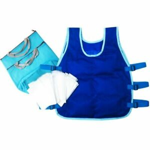 Summer Cooling Vest Heat Resistant Apron 24Pcs Ice Packs 2 Insulated Bag Clothes
