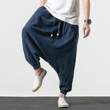 Mens Loose Saggy Cotton linen Japanese Haren pants Baggy Trousers Summer Elastic