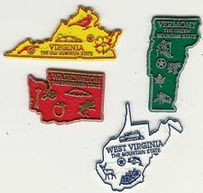 LOT 12  U.S. STATE  MAP MAGNETS  SET  OF 4  VT VA WA WV   2-COLOR  MADE IN USA