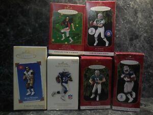 6 football hallmark ornaments joe namath/kurt warner/emmitt smith/john elway/
