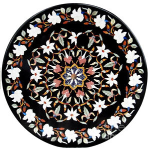 "30"" Black Marble Coffee Table Top Inlaid White Mosaic Floral Hallway Decors B804"