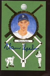 1990 Perez Steele Baseball Postcard Rose Warren Spahn Autographed Holo