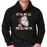 Santa Fake News Funny Trump Christmas Gift Adult Long Sleeve Hoodie Sweatshirt