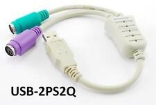 QVS USB to two PS/2 Keyboard / Mouse Converter Active Adapter Cable, USB-2PS2Q