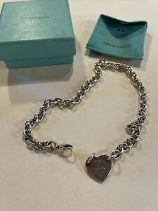 "Return to Tiffany & Co. Heart Tag Sterling Silver Necklace w/ Box 15"" Choker"