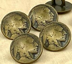 """Indian Head Metal Buttons 3/8"""" Antique Brass 11mm Tiny Repro Nickel Qty 4 or 8"""