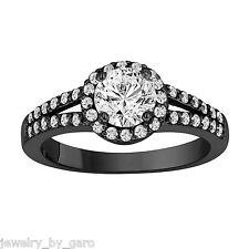 1.03 CARAT DIAMOND ENGAGEMENT RING VINTAGE STYLE 14K BLACK GOLD HANDMADE HALO