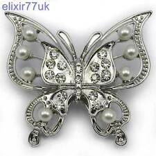 NEW SILVER BUTTERFLY PEARL BROOCH DIAMANTE CRYSTAL BROACH WEDDING BRIDAL GIFT UK