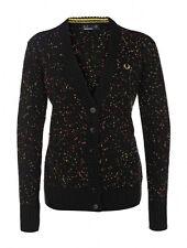 Fred Perry Women's Blurred Spot Longline Cardigan Ladies Sweater Jumper - Black