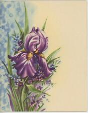 VINTAGE DARK PURPLE IRIS GARDEN BULB FLOWER BLUE LACE DESIGN NOTE CARD ART PRINT
