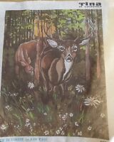 """Vintage Deer in the forest  needlepoint  hand painted canvas 23"""" X 20"""""""