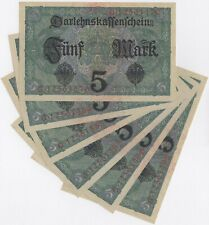 More details for 1917 germany 5 mark notes consecutive numbers   pennies2pounds