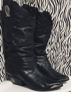 Vtg Zodiac 80's Western Boots~Blk Leather~Silver Heel Guards & Toe Tips~7M~VGC
