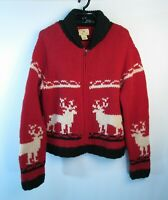 Hand Knit Limited Wool Sweater Womens Sz L Red Deer Red White Christmas Nordic