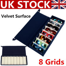 8 Grid Velvet Eyeglass Sunglass Glasses Storage Display Case Tray Box Holder UK