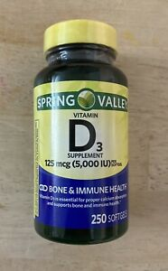 Spring Valley Vitamin D3 Supplement Softgels - 5000iu (250 Count)
