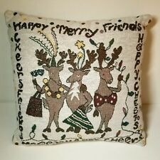 Holiday Tapestry Pillow Reindeer Christmas Plush Square Merry Happy Cheer Humor