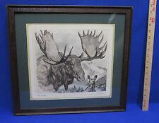 R H Palenske Ma & Pa Moose Print Framed & Matted Color Pencil 1910 Mountain Lake
