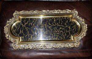 HOLLYWOOD REGENCY MID CENTURY VANITY TRAY Antique GOLD Smokey Vein Mirror VTG