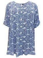 Phool ladies blouse shirt top plus size 20 22 24 26 one size blue geo print
