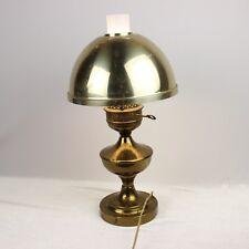 "Vintage Oil Kerosene Style Lamp Electric Table Brass Shade Glass Globe Works 20"""