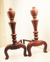 Vtg antique cast iron deco nouveau fireplace andirons log holders ornate