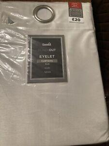 """Brand New Dunelm Blackout Eyelet NOVA Curtains 44"""" X 54"""" Drop Ivory"""