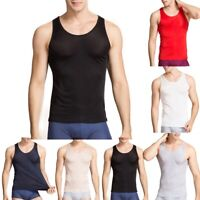 Mens Vest 100% Silk O-Neck Sleeveless Tank Top T Shirt Bodybuilding Sport Summer